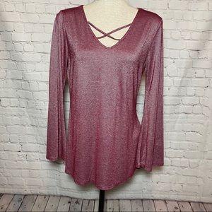 89th & Madison Metallic Long sleeve T-Shirt. Small